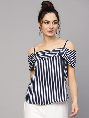Sassafras Casual Sleeveless Striped Women Dark Blue, White, Black Top