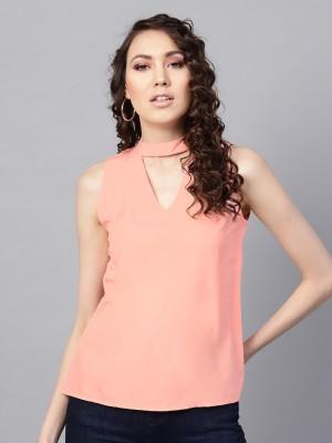Sassafras Casual Sleeveless Solid Women Orange Top