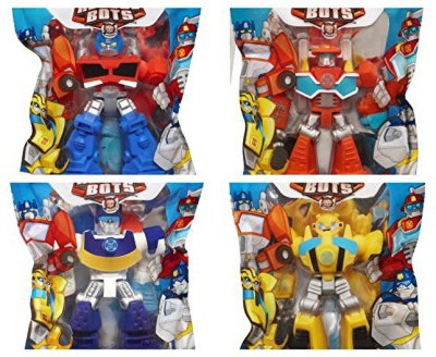 Playskool Heroes 4 G1 Transformers Rescue Bots Grab-Pack Limited Edition Action Figures Bumblebee Chase Police-Bot Heatwave Fire-Bot and Optimus Prime SET of 4(Multicolor)