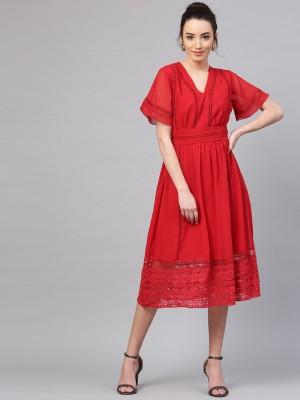 Athena Women Gathered Red Dress