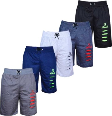 CUTE TREND Short For Boys Sports Printed Pure Cotton(Multicolor, Pack of 5)