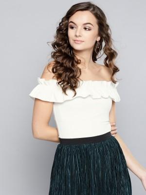Veni Vidi Vici Casual Short Sleeve Solid Women White Top