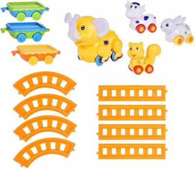 TEMSON 4 Cartoon Rail Train Track Set with High Quality PVC Toys with Train Track Set(Multicolor)
