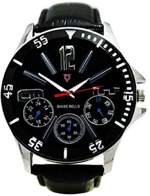 Swiss Bells SBA-023 Imported Black Dial Black genuine Leather Strap Analog Wrist Analog Watch  - For Men
