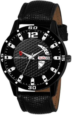 Swiss Bells SBA-026 Imported Black Dial Red genuine Leather Strap Day & Date Working Wrist Analog Watch  - For Men
