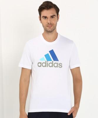 ADIDAS Solid Men Round Neck White T-Shirt at flipkart