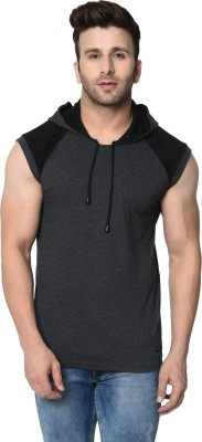 FASHION AERO Color Block Men Hooded Neck Grey T-Shirt