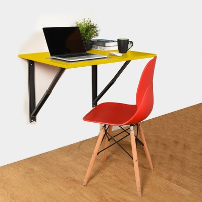 COMFOLD Table for Laptop/Study/Writing/dining Recommended Wall Table for Laptop for Office/Home/ Portable Desk Lap   Kids Study Wall Desk Folding   Best Study/laptop Wooden Tables - L (23.62/ Inch/ 60cm) H(15.74Inch /40Cm) Engineered Wood Study Table(Wall Mounted, Finish Color - Marigold Yellow)