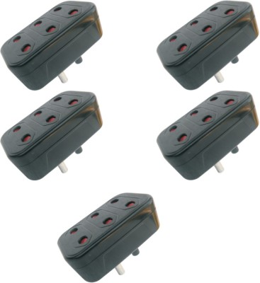 MX 5 Pcs of Conversion Multi plug 2Pin X 3 Sockets Worldwide Adaptor