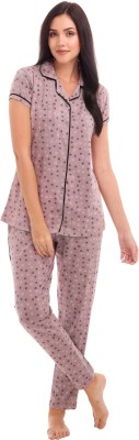ZEYO Women Printed Purple Shirt & Pyjama set