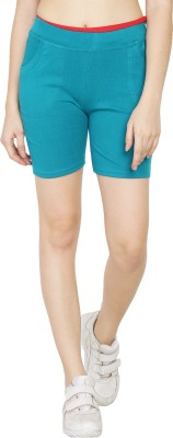 ASMAANI Solid Women Light Blue Sports Shorts