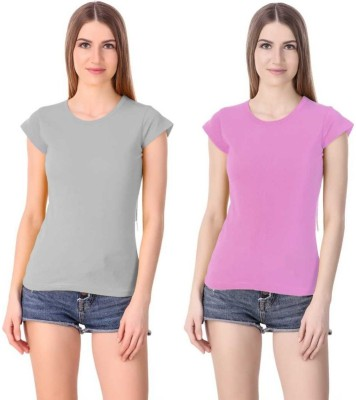 Girls Shopping Solid Women Round Neck Grey, Pink T-Shirt(Pack of 2)