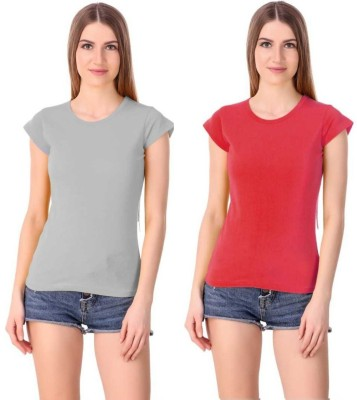Girls Shopping Solid Women Round Neck Grey, Red T-Shirt(Pack of 2)