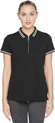 Ajile by Pantaloons Striped Women Polo Neck Black T-Shirt