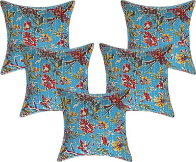 JGS Floral Cushions & Pillows Cover(Pack of 5, 40 cm*40 cm, Blue)
