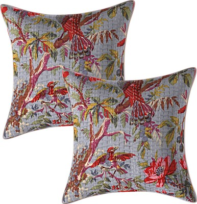 JGS Floral Cushions & Pillows Cover(Pack of 2, 40 cm*40 cm, Grey)