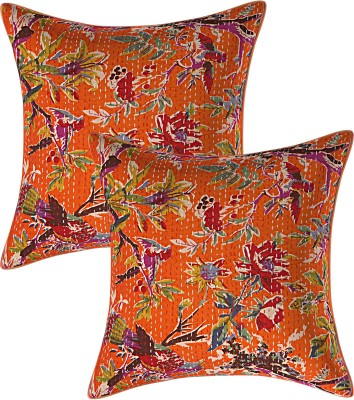 JGS Floral Cushions & Pillows Cover(Pack of 2, 40 cm*40 cm, Orange)