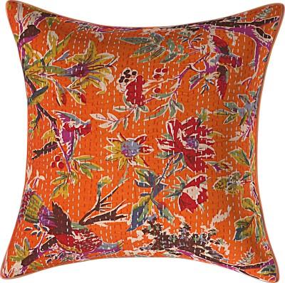 JGS Floral Cushions & Pillows Cover(40 cm*40 cm, Orange)