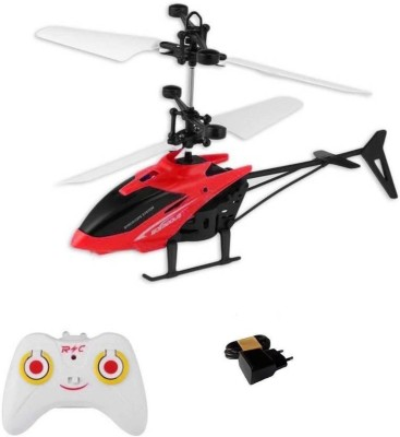 GLOBAL Kids Plastic Induction Type 2-in-1 Flying Indoor Helicopter with Remote(Multicolor)(Multicolor)