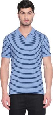 Byford by Pantaloons Striped Men Polo Neck Blue T-Shirt