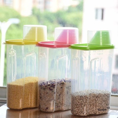 2 Mech Traders Cereal Rice Pasta Grains Dispenser Jar/Container Storage Box Lid Kitchen Set of 3, Multicolor (2500 ML)  - 2500 ml Plastic Grocery Container(Pack of 3, Multicolor)