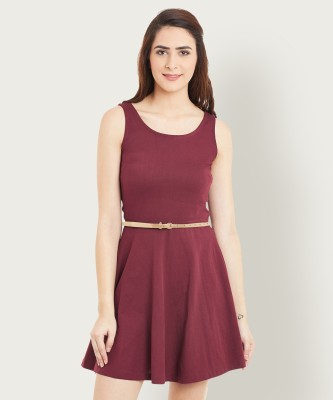 Miss Chase Women Skater Maroon Dress