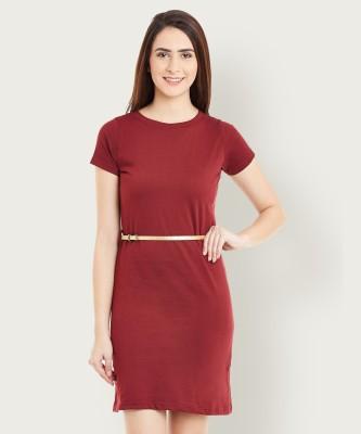 Miss Chase Women Sheath Maroon Dress