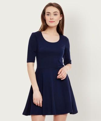 Miss Chase Women Skater Dark Blue Dress