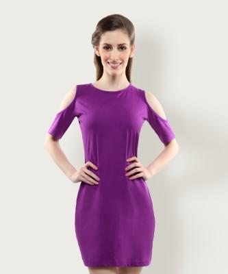 Miss Chase Women A line Purple Dress