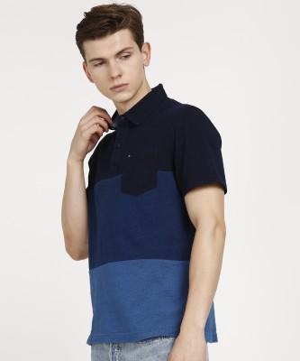 Tommy Hilfiger Color Block Men Polo Neck Blue, Dark Blue T-Shirt