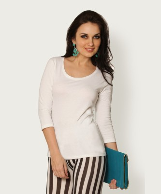 Miss ChaseSolid Women's Round Neck White T Shirt Miss Chase Polos   T Shirts