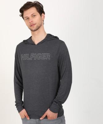 Tommy Hilfiger Printed Men Hooded Neck Grey T-Shirt