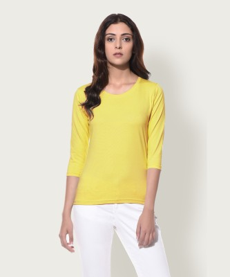 Miss Chase Casual 3/4th Sleeve Solid Women's Yellow Top