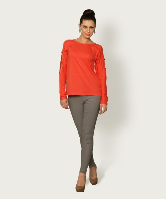 Miss Chase Casual Full Sleeve Solid Women Orange Top