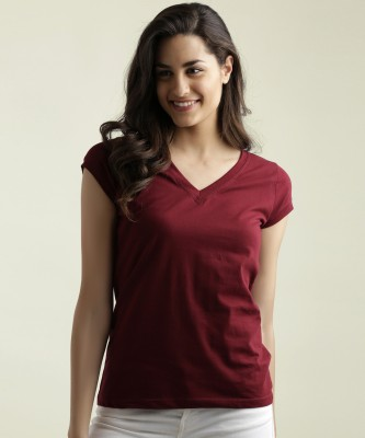 Miss Chase Casual Cap Sleeve Solid Women Maroon Top