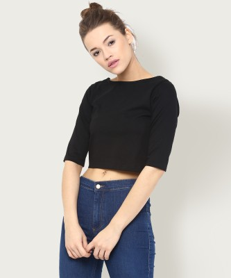 Miss Chase Casual Short Sleeve Solid Women Black Top