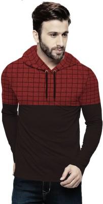 Tripr Checkered Men Hooded Neck Black, Red T-Shirt