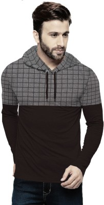 Tripr Checkered Men Hooded Neck Black, Grey T-Shirt