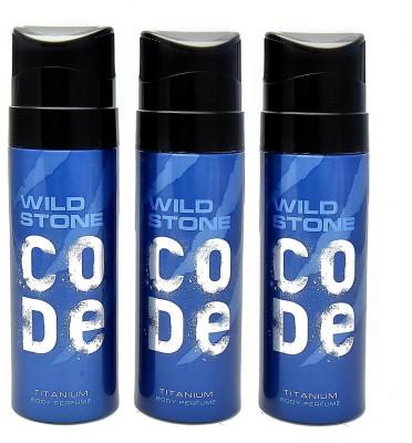 Wild Stone Code Titanium Deodorant Spray  -  For Men(360 ml, Pack of 3)