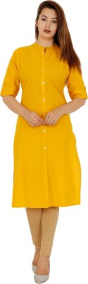 Rimeline Fashion Women Solid Straight Kurta(Yellow)