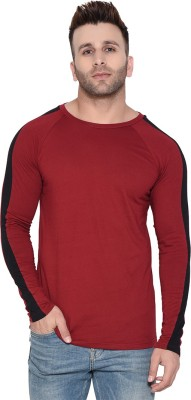 Rezalia Striped Men Round Neck Maroon T-Shirt