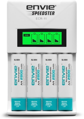 Envie Speedster ECR-11 + 4xAA 2800 Ni-MH rechargeable Camera Battery Charger(White)