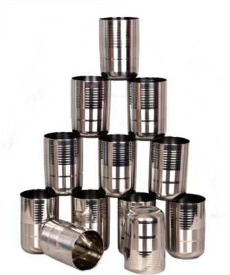 GENMAN Limetro Stainless Steel G5-12 Glass Set Glass Set(Steel, 350 ml, Silver, Pack of 12)