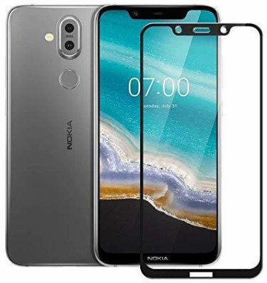 SHRINO Edge To Edge Tempered Glass for Shrino 6D Edge to Edge[Full Coverage] [Anti Glare][Anti Fingerprint] Tempered Glass Screen Protectors for Nokia 7.1 Plus - Black(Pack of 1)