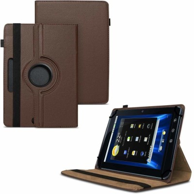 """TGK Flip Cover for Dell Streak 7 4G Android Tablet 7""""/ 360 Degree Rotating Universal Case With Three Camera Hole(Brown, Cases with Holder)"""