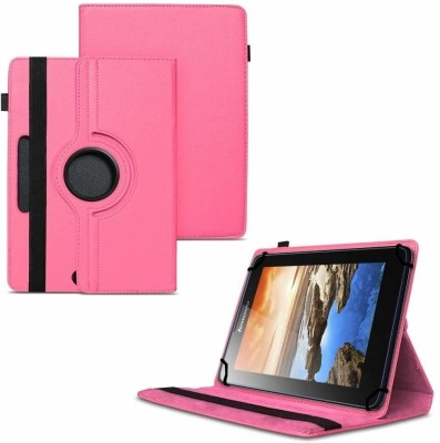 TGK Flip Cover for Lenovo A7-50 Tablet 7 inch / 360 Degree Rotating Universal Case With Three Camera Hole(Pink, Cases with Holder)