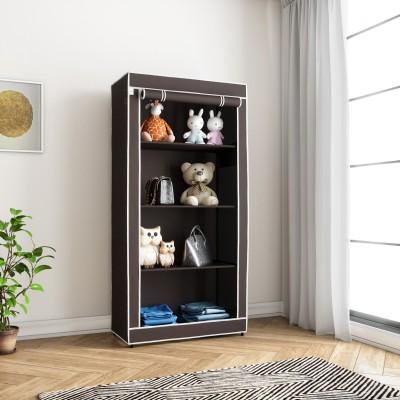 Flipkart SmartBuy Single Door 4 Shelf PP (Polypropylene) Collapsible Wardrobe(Finish Color - Chocolate Brown)