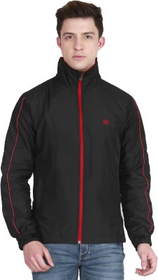 Forest Club Gym Wear Black Hooded Solid Men Wind Cheater