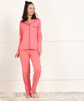 Dreambe Women Solid Pink Shirt & Pyjama set