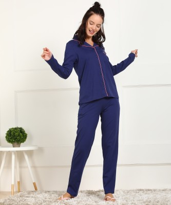 Dreambe Women Solid Blue Shirt & Pyjama set